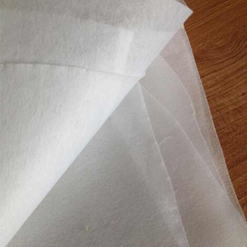 Non Woven Water Soluble Interlining Fabric / Water Dissolving Paper Embossed Designed